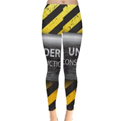 Under Construction Sign Iron Line Black Yellow Cross Leggings  by Mariart