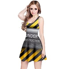 Under Construction Sign Iron Line Black Yellow Cross Reversible Sleeveless Dress by Mariart