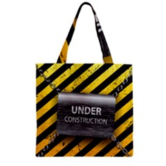Under Construction Sign Iron Line Black Yellow Cross Zipper Grocery Tote Bag by Mariart