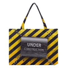 Under Construction Sign Iron Line Black Yellow Cross Medium Tote Bag by Mariart