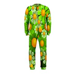 Sunflower Flower Floral Green Yellow Onepiece Jumpsuit (kids) by Mariart