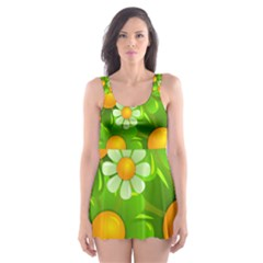 Sunflower Flower Floral Green Yellow Skater Dress Swimsuit by Mariart