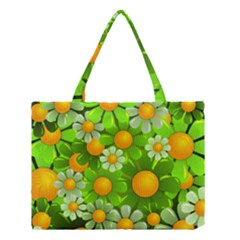 Sunflower Flower Floral Green Yellow Medium Tote Bag by Mariart