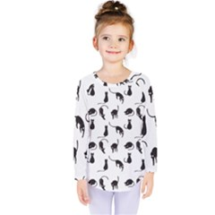 Black Cats Pattern Kids  Long Sleeve Tee by Valentinaart