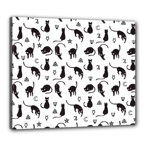 Black Cats And Witch Symbols Pattern Canvas 24  X 20  by Valentinaart