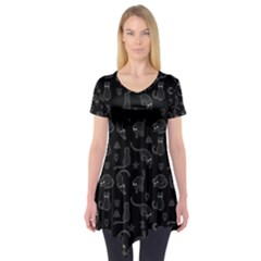 Black Cats And Witch Symbols Pattern Short Sleeve Tunic  by Valentinaart