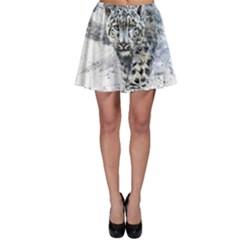 Snow Leopard Skater Skirt by kostart
