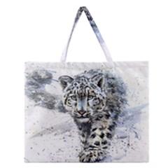 Snow Leopard Zipper Large Tote Bag by kostart