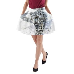 Snow Leopard A Line Pocket Skirt by kostart