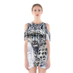 Snow Leopard  Shoulder Cutout One Piece by kostart
