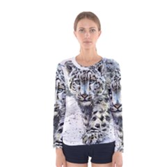 Snow Leopard  Women s Long Sleeve Tee by kostart