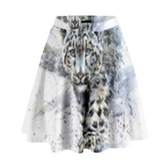 Snow Leopard  High Waist Skirt by kostart