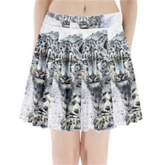 Snow Leopard  Pleated Mini Skirt by kostart