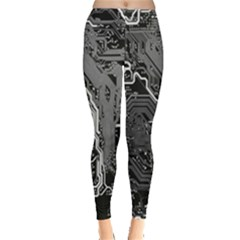 Electronics Machine Technology Circuit Electronic Computer Technics Detail Psychedelic Abstract Pattern Leggings  by Vayuart