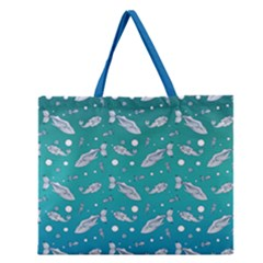 Under The Sea Paisley Zipper Large Tote Bag by emilyzragz