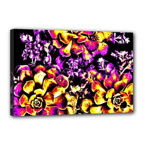 Purple Yellow Flower Plant Canvas 18  X 12  by Costasonlineshop
