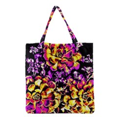 Purple Yellow Flower Plant Grocery Tote Bag by Costasonlineshop