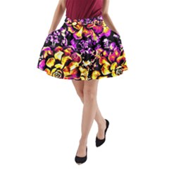 Purple Yellow Flower Plant A Line Pocket Skirt by Costasonlineshop