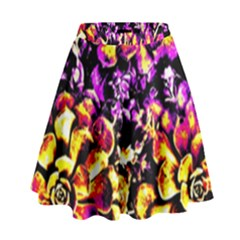 Purple Yellow Flower Plant High Waist Skirt