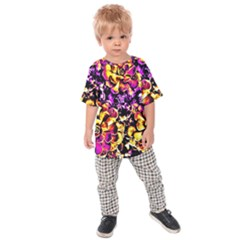 Purple Yellow Flower Plant Kids  Raglan Tee by Costasonlineshop