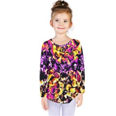 Purple Yellow Flower Plant Kids  Long Sleeve Tee