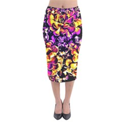 Purple Yellow Flower Plant Velvet Midi Pencil Skirt