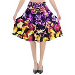 Purple Yellow Flower Plant Flared Midi Skirt