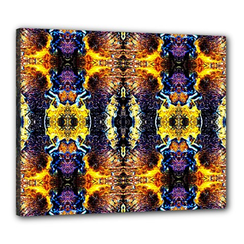 Mystic Yellow Blue Ornament Pattern Canvas 24  X 20  by Costasonlineshop