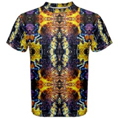 Mystic Yellow Blue Ornament Pattern Men s Cotton Tee