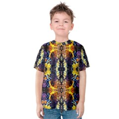 Mystic Yellow Blue Ornament Pattern Kids  Cotton Tee