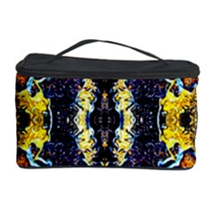 Mystic Yellow Blue Ornament Pattern Cosmetic Storage Case by Costasonlineshop