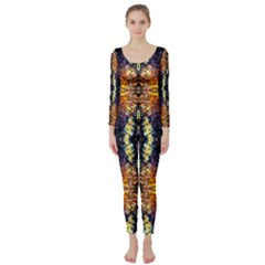 Mystic Yellow Blue Ornament Pattern Long Sleeve Catsuit