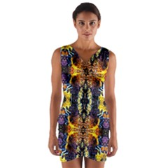 Mystic Yellow Blue Ornament Pattern Wrap Front Bodycon Dress