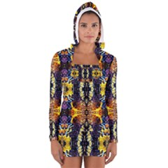 Mystic Yellow Blue Ornament Pattern Women s Long Sleeve Hooded T Shirt