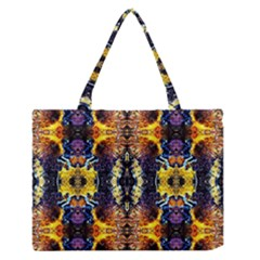 Mystic Yellow Blue Ornament Pattern Medium Zipper Tote Bag by Costasonlineshop