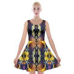 Mystic Yellow Blue Ornament Pattern Velvet Skater Dress