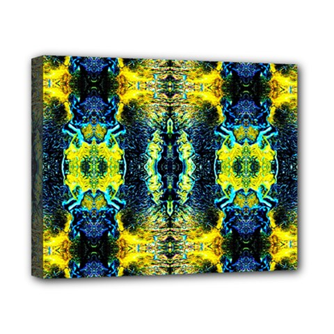 Mystic Yellow Green Ornament Pattern Canvas 10  X 8
