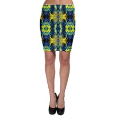 Mystic Yellow Green Ornament Pattern Bodycon Skirt
