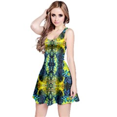 Mystic Yellow Green Ornament Pattern Reversible Sleeveless Dress