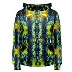 Mystic Yellow Green Ornament Pattern Women s Pullover Hoodie