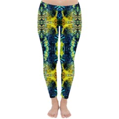 Mystic Yellow Green Ornament Pattern Classic Winter Leggings