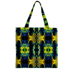 Mystic Yellow Green Ornament Pattern Zipper Grocery Tote Bag