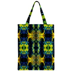 Mystic Yellow Green Ornament Pattern Zipper Classic Tote Bag