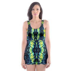 Mystic Yellow Green Ornament Pattern Skater Dress Swimsuit by Costasonlineshop
