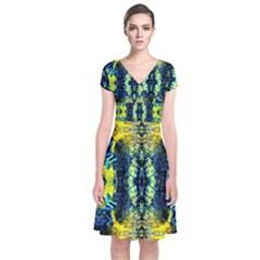 Mystic Yellow Green Ornament Pattern Short Sleeve Front Wrap Dress