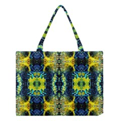 Mystic Yellow Green Ornament Pattern Medium Tote Bag by Costasonlineshop
