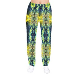 Mystic Yellow Green Ornament Pattern Drawstring Pants