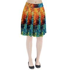 Orange Blue Background Pleated Skirt