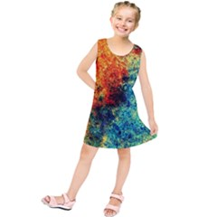Orange Blue Background Kids  Tunic Dress by Costasonlineshop