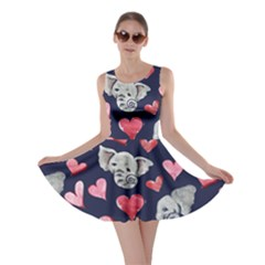 Elephant Lover Hearts Elephants Skater Dress by BubbSnugg